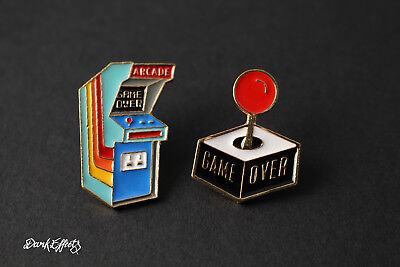 Arcade Machine & Joy Stick Retro Gaming Pin Badges Game Over Metal