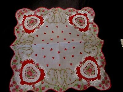 Vintage Valentine hanky w hearts and flowers
