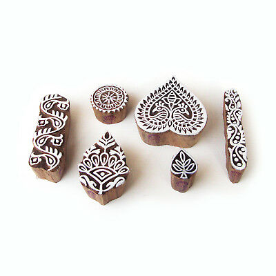 Asian Heart and Leaf Motif Wood Block Stamps (Set of 6)