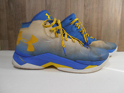 best service f31a8 12e6a Under Armour UA Curry 2.5 Basketball Shoes Blue Yellow Sneaker 1274425-103  Sz 12