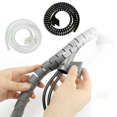 Large 2 Metre Cable Tidy Kit Pc Tv Wire Organising Wrap Spiral Office Home