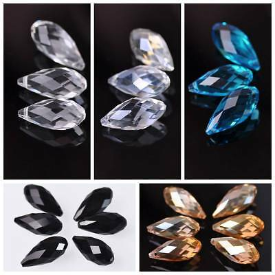 10pcs 12x25mm Crystal Findings Glass Faceted Loose Spacer Teardrop Beads Drops