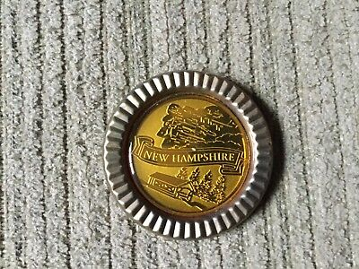 """Round Gold New Hampshire Magnet, Old Man & Covered Bridge, 2"""""""