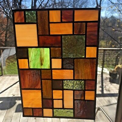 Frank Lloyd Wright Inspired Stained Glass Panel  Tans/Browns #1