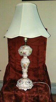 Vintage German Hand Painted Porcelain Raised Flowers Design Lamp With Silk Shade