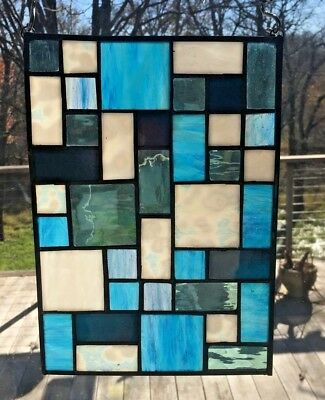 Frank Lloyd Wright Inspired Stained Glass Panel - Blues and Whites #3