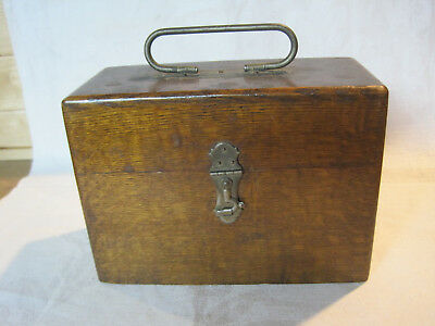 Antique sewing machine parts & accessories wooden box with handle