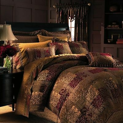 Croscill Galleria Red Chenille Patchwork 2-PC King Comforter and Bed-Skirt