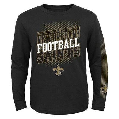 """New Orleans Saints Outerstuff NFL Youth Black """"Frequency"""" Long Sleeve T-Shirt"""