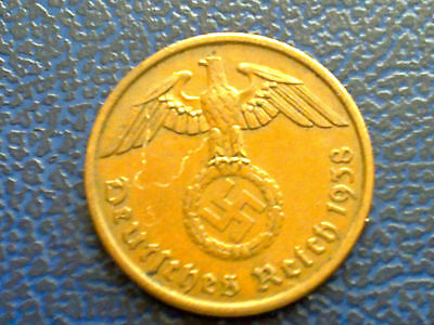 Germany 1 Reichspfennig Wwii-Nazi Swastika -Circulated