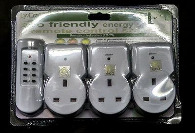 3 Pack - LyvEco Remote Controlled Mains Sockets 1200W