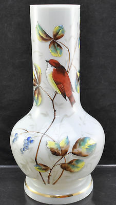 Antique Hand Blown and Painted Enameled Opaline Bird Vase 19th Century
