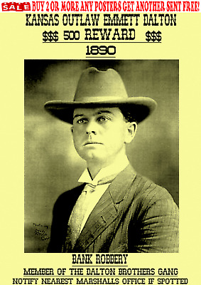 Old West Wanted Poster Outlaw Dalton James Younger Bank Train Rob Western Reward