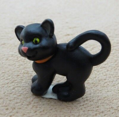 Hallmark Merry Miniatures Mini Figurine Halloween Black Cat vtg 1994 green eyes