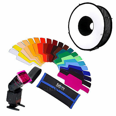 "Selens SE-CG20 FLash Color Gels Filter 20pc + 18""/45cm Speedlight round softbox"