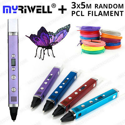 GENUINE Myriwell 3D Printing Pen v3 Works with all Filament types: ABS, PLA, PCL