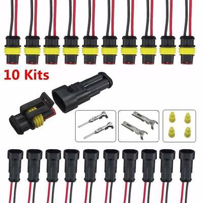10 Kits 2 Pin Way Sealed Waterproof Electrical Wire Connector Plug Set Car Truck