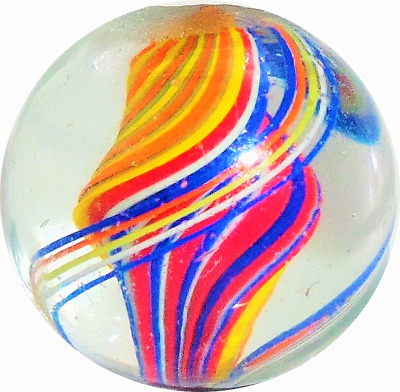 """11/16"""" Eye Candy Single Ribbon Candy Core Antique Handmade Pontil Marbles ( Mm )"""