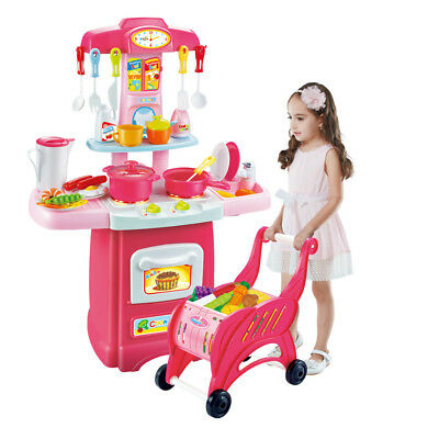 Kitchen Toy Kids Cooking Pretend Play Set with Shopping Carts Toddler Playset
