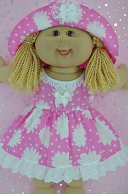 "Play n Wear Doll Clothes For 16"" Cabbage Patch CANDY PINK/WHITE FLOWER DRESS~HAT"