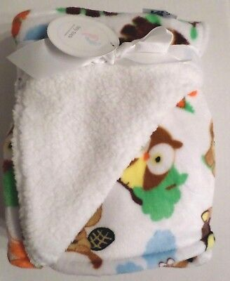 Tiny Toes Baby Boys Plush Forest Animal Baby Blanket White/Multi 30x36 Polyester