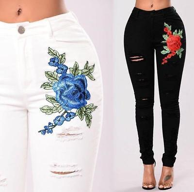 AU SELLER Womens Embroidery Ripped Skinny Trousers Jeans Denim Pencil pants p037
