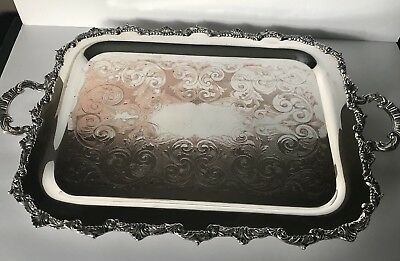 Marlboro Plate Large Silver Plated Butlers Serving Footed Tray 25x16
