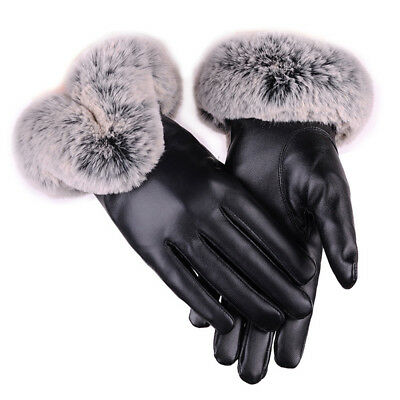 Winter Fashion Women Leather Gloves Fur Wrist Mittens Touch Screen Driving Ski