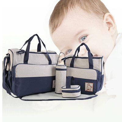 Diaper Bags Shoulder Handbag Mommy Bag Travel 5Pcs Baby Nappy Changing Bag Set