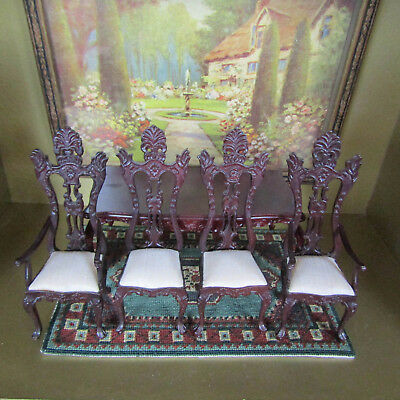 Dollhouse CARVED BESPAQ DINING ROOM CHAIRS TABLE LOT Miniature Furniture Set
