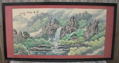 Chinese Watercolour 160x82cms Mountain Waterfall River Black Frame Rice Paper