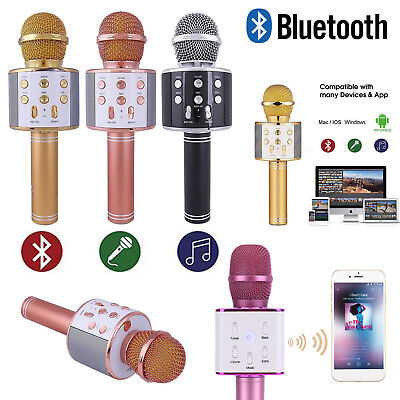 Wireless Bluetooth Microphone Karaoke Speaker Handheld Mic USB MP3 Player KTV