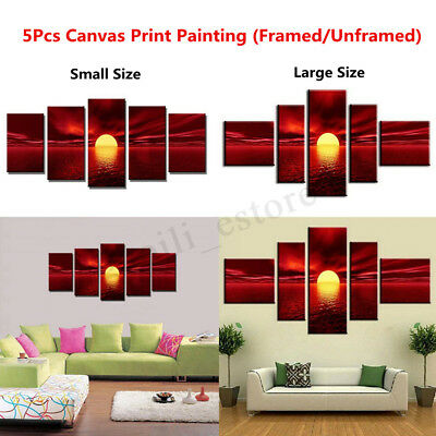 5Pcs Framed/Unframed Red Sunrise Landscape Canvas Prints Oil Painting Wall Decor