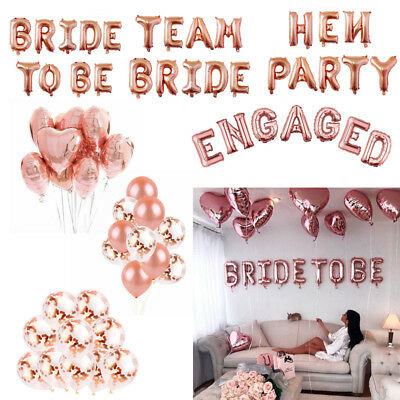 "16"" TEAM BRIDE TO BE ENGAGED Rose Gold Letter Wedding Hen Party Balloons Banners"