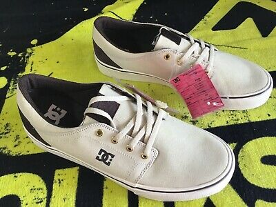 Men's DC Trase TX -SD $31 EACH Lace Up Canvas Skater Shoes Beige-White Size 9
