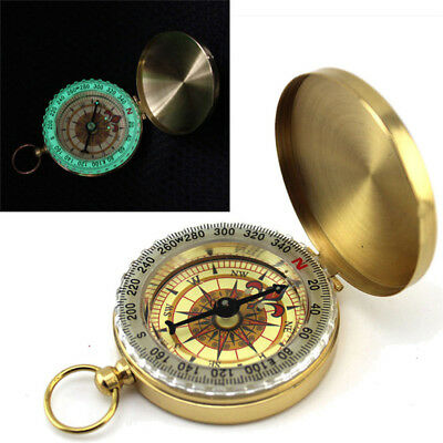 Vintage Night Glow Brass Noctilucent Pocket Compass Hiking Camping Watch Design