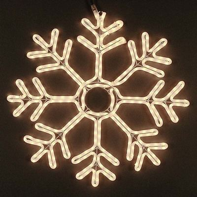 """24"""" Deluxe Christmas Snowflake Incandescent Rope Light Sculpture, Frosted White"""