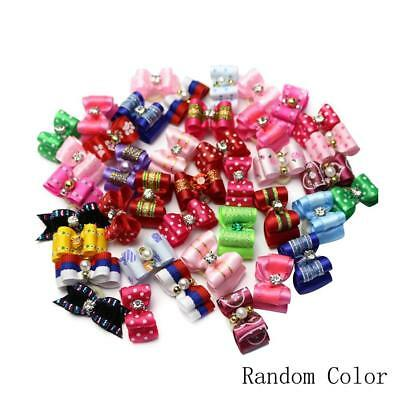 Assorted Pet Cat Dog Hair Bows Rubber Band Animal Grooming Accessories Wholesale