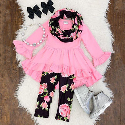 US Toddler Kid Baby Girl Ruffled Outfit Clothes Dress Tops Floral Leggings Pants