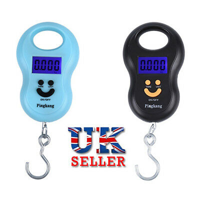 10g 50kg Portable Luggage Hanging Weight Hook Scale Fishing LCD Digital UK
