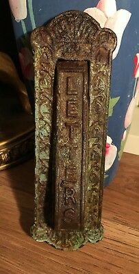 Old Cast Iron Heavy Letter Box With Knocker