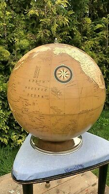 Fantastic Vintage Nautical Collectible World Globe Brown Educational Metal Base*