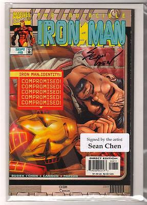Marvel Comics NEAR MINT 9.6  IRON MAN #8  LIVE FREE AND DIE SIGNED SEAN CHEN