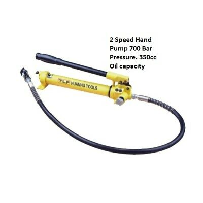 2 Speed Hydraulic Hand Pump & Hose 700 bar (10,000 psi). Heavy duty £87.50 +Vat