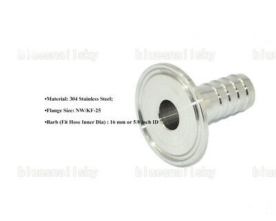 US  Stainless Steel 304 KF25 Flange to OD 16mm Rubber Hose Barb Adapter Vacuum