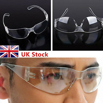 UK 10 x New Clear Lens Protective Safety Glasses Eye Protection Goggles Lab