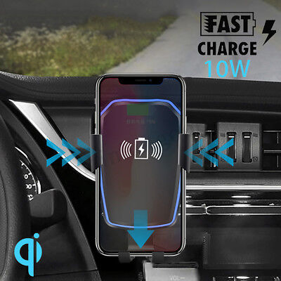 2 in 1 Qi Wireless Car Quick Charger Mount Holder For iPhone X 8 Plus Samsung S9
