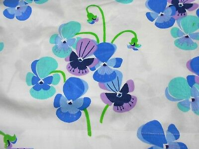 Vintage 60s 70s SEARS Twin Flat SHEET with VIOLETS Bright Blue & Purple Flowers