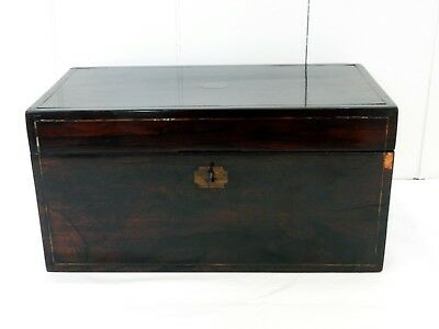 Lovely Antique Victorian Rosewood Timber Tea Caddy with Original Boxes Box & Key