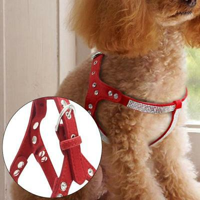Bling Rhinestone Suede Leather Dog Harness Vest for Small Medium-Dogs Pet Puppy